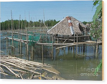 House On Stilts Wood Print by Dindin Coscolluela