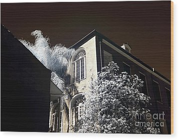 House On The Corner Infrared Wood Print by John Rizzuto