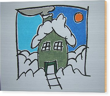 House On The Edge Of Town Wood Print by Pat  Lackenbauer