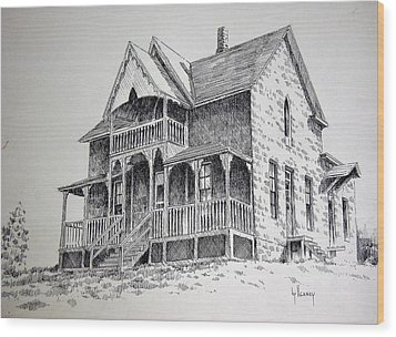 House Virginia City Montana Wood Print by Kevin Heaney