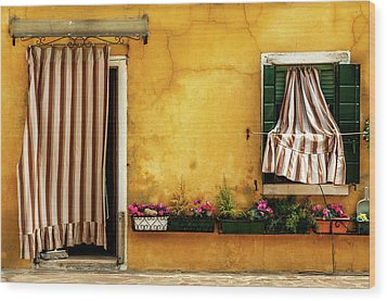 House With Drapes Burano Italy Wood Print by Xavier Cardell