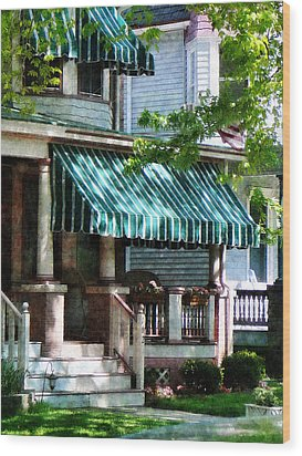 House With Green Striped Awnings Wood Print by Susan Savad