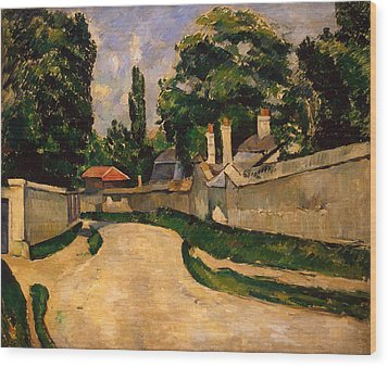 Houses Along A Road Wood Print by Paul Cezanne