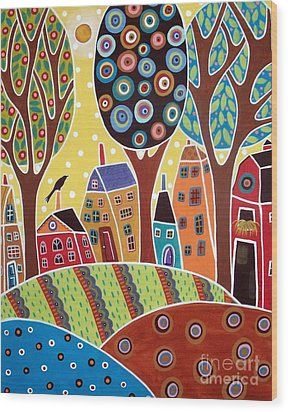 Houses Barn Landscape Wood Print by Karla Gerard