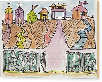 Houses By The Sea Wood Print by Linda Kay Thomas