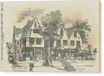 Houses On Locust Street Walnut Hills Cincinnati Ohio 1888 Wood Print by SE DesJardins