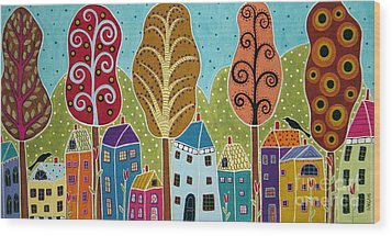 Houses Trees Birds Painting By Karla G Wood Print by Karla Gerard