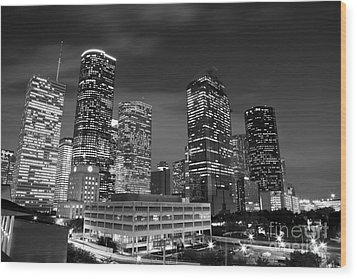 Houston By Night In Black And White Wood Print
