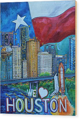 Houston Montage Wood Print by Patti Schermerhorn