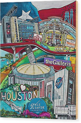Houston Montage Two Wood Print by Patti Schermerhorn