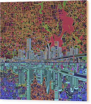 Houston Skyline Abstract 3 Wood Print