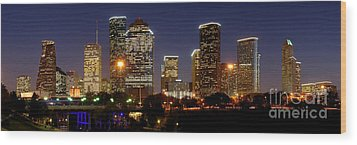 Houston Skyline At Night Wood Print by Jon Holiday
