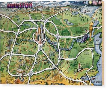 Houston Texas Cartoon Map Wood Print