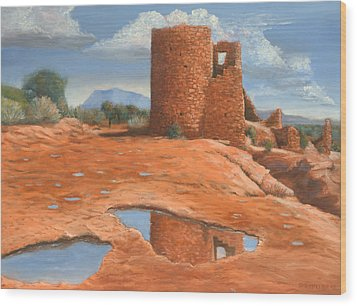 Hovenweep Reflection Wood Print by Jerry McElroy