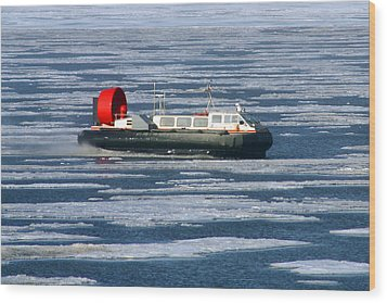Hovercraft On Frozen Artic Ocean Wood Print by Anthony Jones