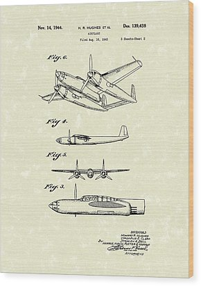 Howard Hughes Airplane 1944 Patent Art  Wood Print by Prior Art Design