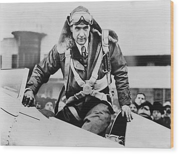 Howard Hughes Emerging From An Airplane Wood Print