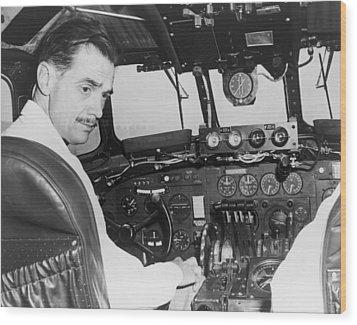 Howard Hughes Seated In The Cockpit Twa Wood Print by Everett