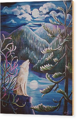 Wood Print featuring the painting Howlin' The Blues by Renate Nadi Wesley