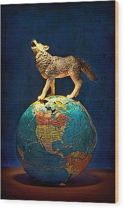 Howling At The Light Wood Print by Jeff  Gettis