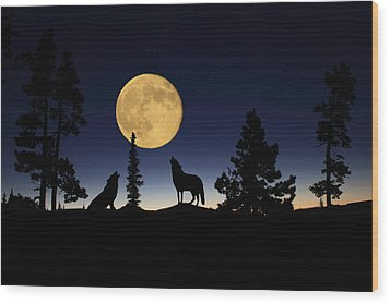 Howling At The Moon Wood Print by Shane Bechler