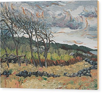 Howling Winds Sweden Wood Print by Art Nomad Sandra  Hansen