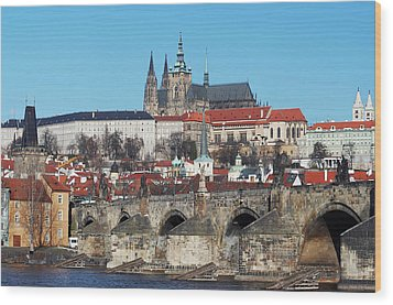 Hradcany - Cathedral Of St Vitus And Charles Bridge Wood Print by Michal Boubin