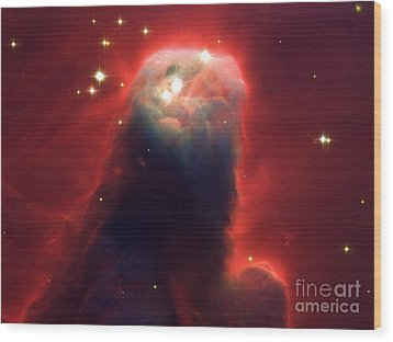 Hubble Newest Camera Images Ghostly Star Forming Pillar Of Gas A Wood Print by Mohamed Elkhamisy