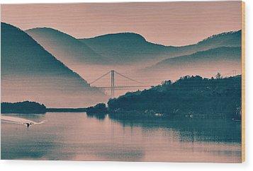 Hudson Highlands Fog Wood Print by Nancy De Flon