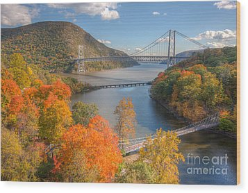 Hudson River And Bridges Wood Print