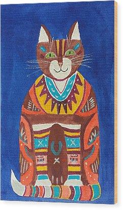 Huey Cat Wood Print