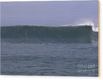 Wood Print featuring the photograph Huge Mavericks Wall by Stan and Anne Foster