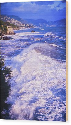 Wood Print featuring the photograph Huge Wave In Ligurian Sea by Silvia Ganora