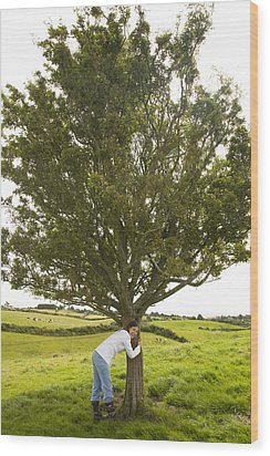 Wood Print featuring the photograph Hugging The Fairy Tree In Ireland by Ian Middleton