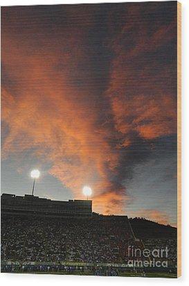 Hughes Stadium Sunset Wood Print by Sara  Mayer
