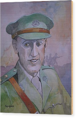 Wood Print featuring the painting Hugo Throssel Vc by Ray Agius