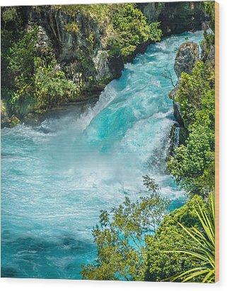 Huka Falls Wood Print by Racheal Christian