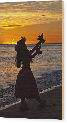 Hula Dancer Wood Print by James Roemmling