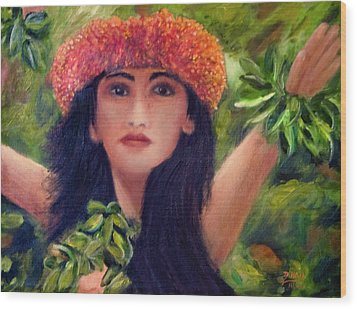 Hula Dancer Kahiko #422 Wood Print by Donald k Hall
