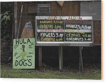 Hula Dogs Wood Print