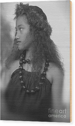 Hula Girl Wood Print by Uldra Johnson