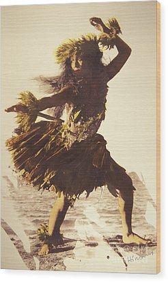 Hula In A Ti Leaf Skirt Wood Print by Himani - Printscapes