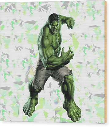 Wood Print featuring the mixed media Hulk Splash Super Hero Series by Movie Poster Prints