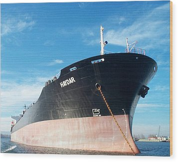 Hull Of Vessel Haydar At Anchor Wood Print by Alan Espasandin