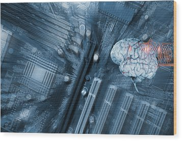 Wood Print featuring the photograph Human Brain And Communication by Christian Lagereek