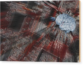Wood Print featuring the photograph Human Brain, Intelligence And Communication by Christian Lagereek