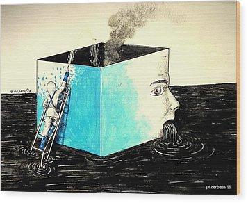 Human Imminent Collapse Wood Print by Paulo Zerbato