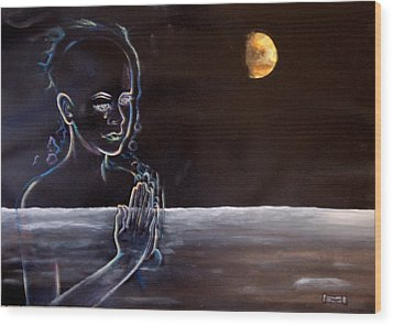 Human Spirit Moonscape Wood Print by Susan Moore