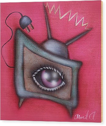 Human Tv Wood Print by  Abril Andrade Griffith