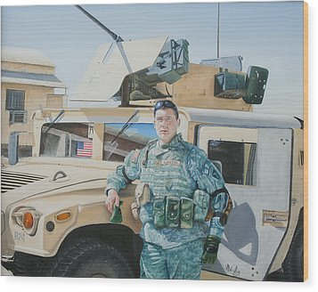 Wood Print featuring the painting Hummer by Mike Ivey
